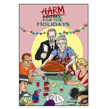 "Artwork for Jest Murder Mystery Co. show ""Harm for the Holidays"""