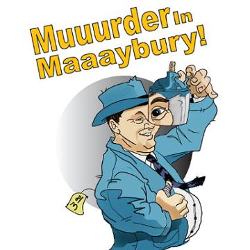 """Artwork for Jest Murder Mystery Co. show """"Muuurder in Maaaybury"""""""